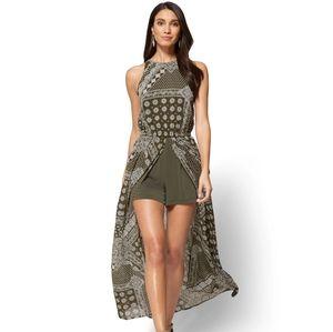 New York & Company Slit Detail Maxi Dress Bandana